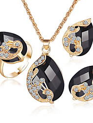 cheap -Women's Crystal / Synthetic Diamond / Synthetic Emerald Crystal / Rhinestone / Gold Plated Jewelry Set Rings / 1 Necklace / 1 Pair of