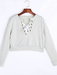 cheap -Women's Light Grey Criss Cross Cropped Sweater