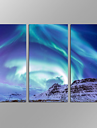 VISUAL STAR®Framed 3 Pieces Modern Canvas Painting Wall Art Northern Light Giclee Artwork For Wall Decor