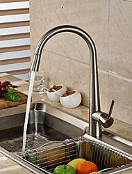 cheap -Contemporary Art Deco/Retro Modern Pull-out/­Pull-down Vessel Widespread Rotatable Ceramic Valve Single Handle One Hole Nickel Brushed,