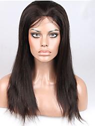 Χαμηλού Κόστους -Φυσικά μαλλιά Χωρίς επεξεργασία Ανθρώπινη Τρίχα Πλήρης Δαντέλα Περούκα στυλ Βραζιλιάνικη Ίσιο Φύση Μαύρο Περούκα 130% Πυκνότητα μαλλιών / Φυσική γραμμή των μαλλιών / 100% δεμένη στο χέρι