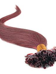 baratos -Febay Queratina / Ponta U Extensões de cabelo humano Liso Cabelo Humano Loiro Morango Ruivo Escuro Marrom Médio