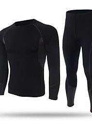 XINTOWN Men's Baselayer Long Sleeves Thermal / Warm Quick Dry Fleece Lining Breathable Compression Held-In Sensation Comfortable Tights