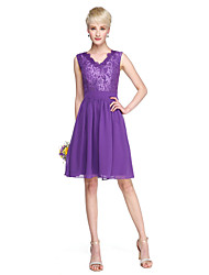 cheap -A-Line V Neck Knee Length Chiffon Lace Bridesmaid Dress with Sash / Ribbon by LAN TING BRIDE®