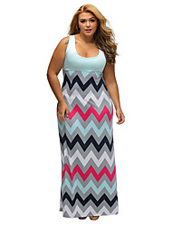 Women's Boho Plus Size Light Blue Top Multicolor Zigzag Maxi Dress