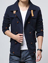 Men's Korean Slim Double Breasted Woolen Jacket Solid Notch Lapel Long Sleeve Fall / Winter Blue / Black / Yellow Cotton / Polyester Thick