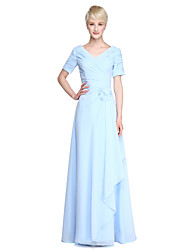 Sheath / Column V-neck Floor Length Chiffon Bridesmaid Dress with Flower(s) Ruching Side Draping Criss Cross by LAN TING BRIDE®