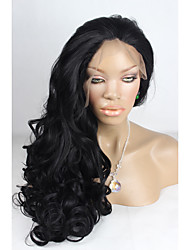 Celebrity Top Fashion Long Body Wave Style Jet Black 1B#Color Handmade High Quality Cheap Synthetic Lace Front Wigs