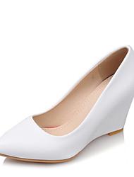 女性用 靴 レザーレット 春 夏 ヒール ウエッジヒール ポインテッドトゥ のために 結婚式 ドレスシューズ パーティー ホワイト ベージュ パープル ピンク
