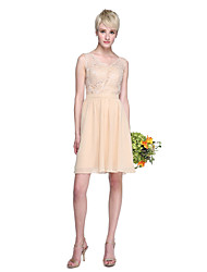 A-Line V-neck Knee Length Chiffon Lace Bridesmaid Dress with Lace Sash / Ribbon by LAN TING BRIDE®