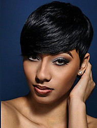 cheap -Natural  Wavy  Short Human Hair Wigs For Black Woman