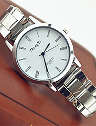 cheap -Couple's Quartz Wrist Watch Hot Sale Stainless Steel Band Casual Fashion White