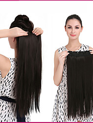"""24"""" 140g 1Pc Clip In Long Straight Hair Extensions Synthetic Heat Resistant Fiber Multicolor Hair Pieces"""