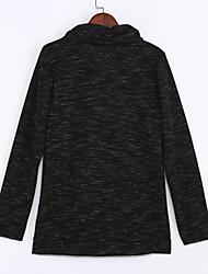 Tee-shirt Aux femmes,Couleur Pleine Décontracté / Quotidien Vintage Automne / Hiver Manches Longues Drapé Bleu / Rouge / Beige / Gris
