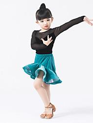 Latin Dance Outfits Children's Performance Tulle Velvet Ruffles Splicing 2 Pieces Long Sleeve Natural Leotard Skirt