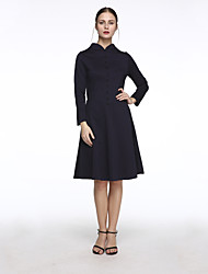 Women's Plus Size / Casual/Daily Simple Sheath Dress,Striped V Neck Knee-length Long Sleeve Blue Polyester Spring / Fall