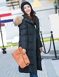 Women's Long Down Coat,Simple Formal Going out Casual/Daily Solid-Polyester White Duck Down Long Sleeves Hooded