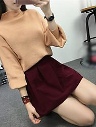 abordables -Mujer Regular Pullover Casual/Diario Noche Simple Chic de Calle,Un Color Rojo Negro Multicolor Escote Chino Manga Larga LanaOtoño