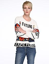 economico -Standard Pullover Da donna-Casual Romantico Con stampe Bianco Nero Rotonda Manica lunga Autunno Spesso Media elasticità