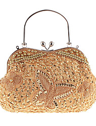 cheap -Women's Bags Polyester Evening Bag Beading Dark Red / Khaki / Champagne