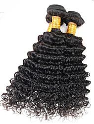 Cappelli veri Peruviano Ciocche a onde capelli veri Onda riccia Extensions per capelli 3 pezzi Nero