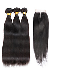 cheap -7A Indian Human Virgin Hair Straight 4*4 Lace Closure With 3 Bundles Hair Weft