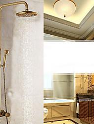 Starožitné Nástěnná montáž Dešťová sprcha Včetne sprchové hlavice with  Keramický ventil Single Handle dva otvory for  Starožitná mosaz ,