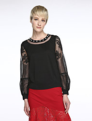 Women's Embroidery Solid Red / Black Blouse,Round Neck Long Sleeve