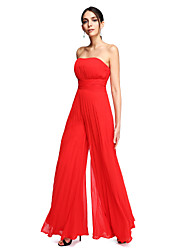 cheap -Sheath / Column / Jumpsuit Strapless Floor Length Chiffon Open Back Prom / Formal Evening Dress with Draping / Ruched by TS Couture®