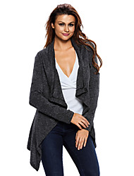 Women's Casual/Daily Simple Regular Cardigan,Solid Black Gray Yellow Cowl Long Sleeve Polyester Spandex Fall Winter Medium Stretchy