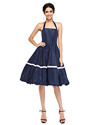 cheap -A-Line Halter Knee Length Nylon Taffeta Cocktail Party Homecoming Prom Dress with Pleats by TS Couture®