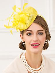 Недорогие -Льняные пера фашинирующие шляпы головной убор классический женский стиль