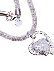 cheap -Women's Heart Sterling Silver Pendant Necklace Statement Necklace  -  Love Heart Silver Necklace For Thank You Valentine