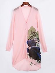 cheap -Women's Going out  /Cute Long Cardigan,Print Blue / Pink / White / Beige V Neck Long Sleeve Cotton Summer / Fall