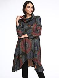 baratos -Mulheres Algodão Solto Vestido Floral Assimétrico