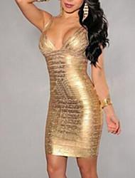 Moulante Robe Femme Soirée / Cocktail Sexy,Couleur Pleine A Bretelles V Profond Mini Sans Manches Jaune Polyester Toutes les Saisons