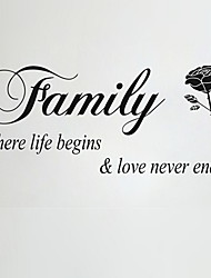 Wall Stickers Wall Decals, Family Rose Word Saying PVC Wall Stickers