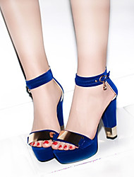 Women's Sandals Spring Summer Fall PU Casual Party & Evening Chunky Heel Metallic toe Black Blue Red