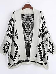 preiswerte -Lang Mantel / Capes Einfach Geometrisch Beige Schwarz Hemdkragen Langarm Baumwolle Frühling Mittel Mikro-elastisch