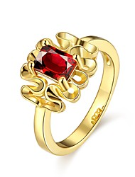 billige -Dame Geometrisk Ring - Zirkonium, Kvadratisk Zirconium, Guldbelagt Europæisk, Mode 7 / 8 Guld / Rose Til Afslappet / Rødguldbelagt / Rødguldbelagt