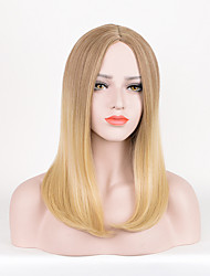 Long Straight Brown To Blonde Color Synthetic Wig For Women Fashion Party Cosplay Wigs