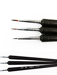 cheap -3PCS Black Tiny Acrylic Nail Art Drawing Painting Pen Brush