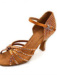 Women's Dance Shoes Satin  Latin / Jazz / Swing Shoes / Salsa Sandals / Heels HeelPractice / Beginner Customizable