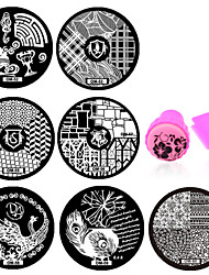 10pcs Flower Pattern DIY Steel Plate Nail Art Image Print Stamp Stamping Manicure Template DIY Polish Tools (OM51-OM60)