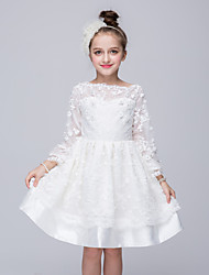 cheap -Girl's Going out Solid Dress, Polyester Spring Summer Fall Long Sleeves White