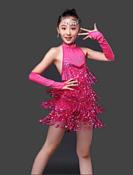 Shall We Latin Dance Dresses Children's Performance Milk Fiber Paillettes 3 Pieces Sleeveless High Dress Gloves
