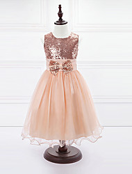 Ball Gown Tea Length Flower Girl Dress - Organza Satin Sleeveless Jewel Neck with Bow(s) Sequins by LAN TING BRIDE®