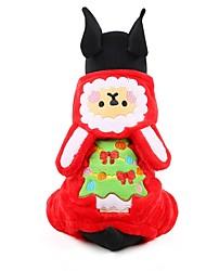 Chien Pulls à capuche Combinaison-pantalon Vêtements pour Chien Hiver Floral / Botanique Mignon Mode Garder au chaud Noël Marron Rouge