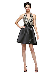 cheap -A-Line Fit & Flare Halter Short / Mini Satin Cocktail Party / Homecoming / Prom / Holiday Dress with Appliques Bow(s) Sash / Ribbon by TS