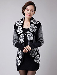 Women's Casual/Print Medium Long Sleeve Long Trench Coat (Cotton/Knitwear)SF7F09